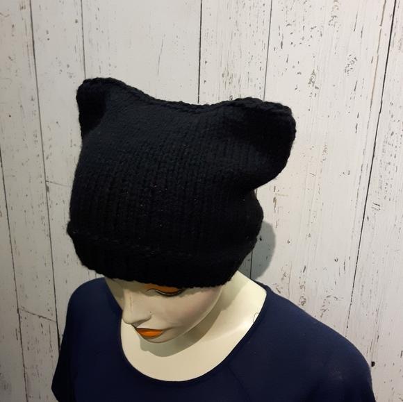 ⭐2/35$⭐Handknit cat hat black